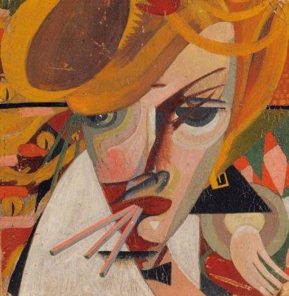 Portrait cubiste de femme Huile sur carton Signée en haut à gauche 28 x 27 cm Manques et coins écornés. Cet artiste complexe débuta sa carrière en tant que peintre puis se dirigea vers la philosophie et l'écriture. Ses premiers pas dans le monde artistique le guidèrent vers le mouvement dada - il est l'un des premiers dadaïstes italiens - et vers le futurisme. Giulio Evola tentera quelques rares oeuvres à tendance cubistes, tel notre tableau où les formes géométriques dessinent le motif en un enchaînement d'arabesques.
