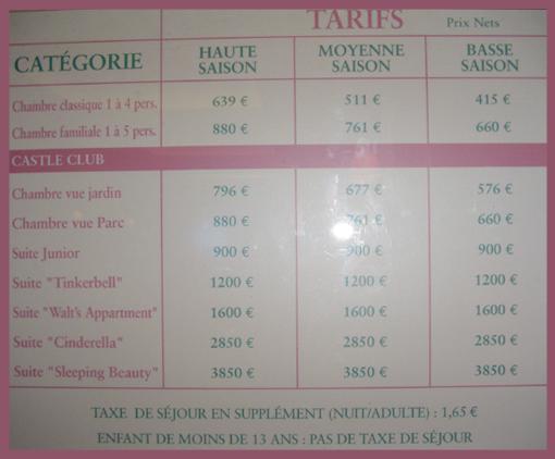 Les prix d 39 une chambre ou d 39 une suite sans entr es par nuit for Les prix des hotel