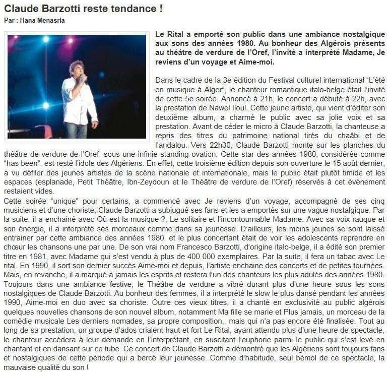 """article de presse par Hana Menasria """"liberté"""""""
