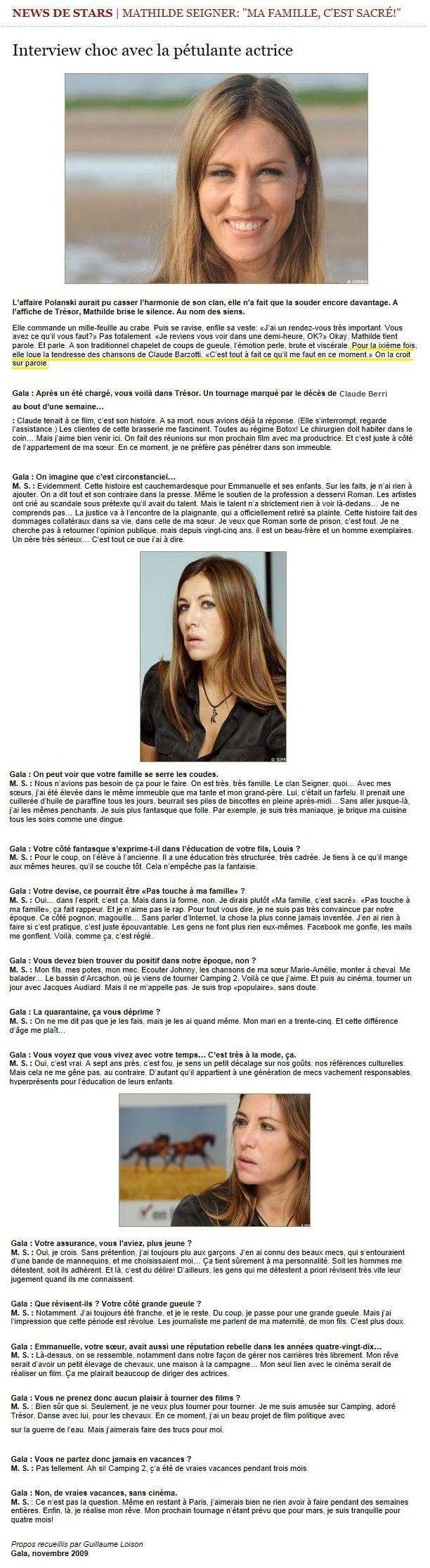 interview de Gala 2009