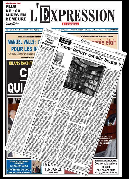 article de presse Algérie l'Expression du 21 août 2013